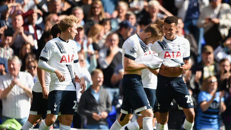 Eric Dier of Tottenham Hotspur celebrates scoring his team's first goal