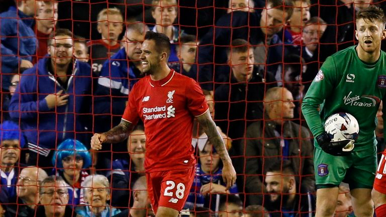Liverpool's Danny Ings celebrates against Carlisle