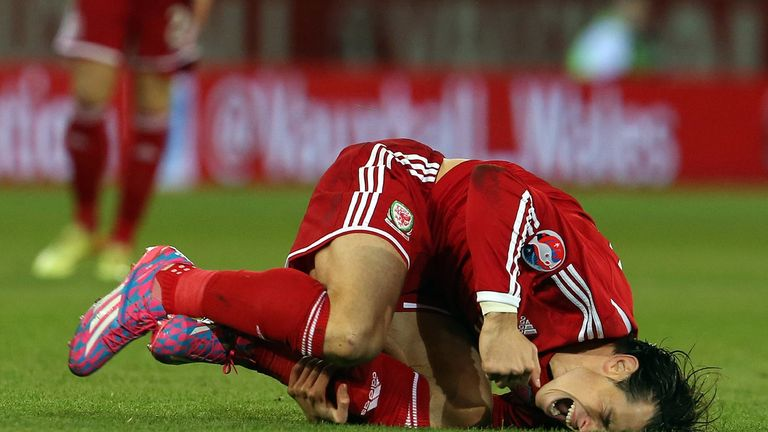 Wales' Gareth Bale is pictured after a foul by Cyprus' Marios Nikolaou