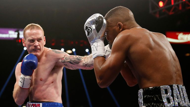 George Groves throws a left at Badou Jack