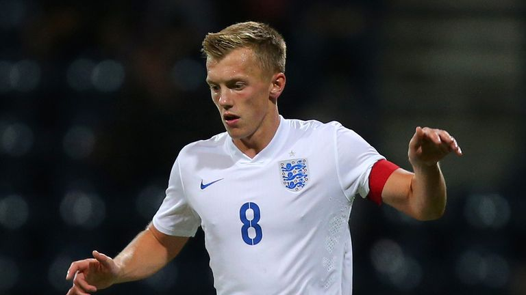 PRESTON, ENGLAND - SEPTEMBER 3: James Ward-Prowse of England during the International friendly match between England U21 and USA U23 at Deepdale on Septemb
