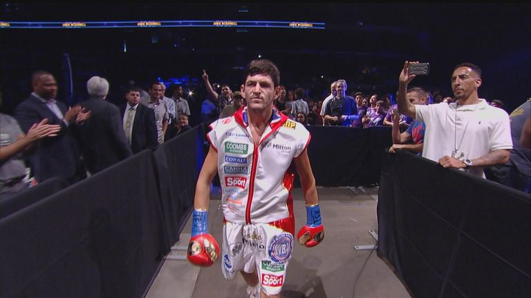 McDonnell marches purposefully towards the ring to face Kameda