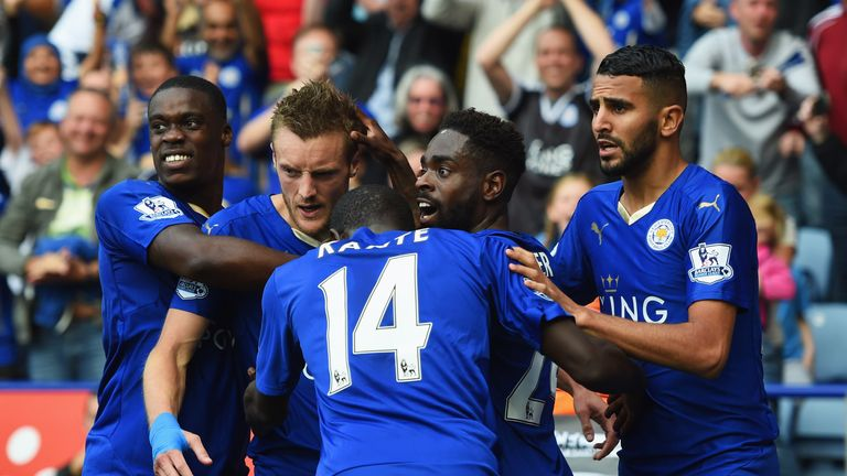 Leicester's Jamie Vardy (second left) celebrates with teammates after scoring their second and equalising goal during the match against Aston Villa