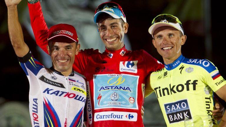 From left, Joaquim Rodriguez, Fabio Aru and Rafal Majka on last year's final podium