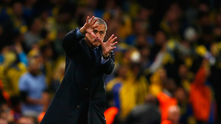 Jose Mourinho reacts on the touchline during the UEFA Chanmpions League group G match between Chelsea and Maccabi Tel-Aviv