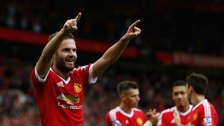 Juan Mata celebrates scoring Man Utd's third goal against Sunderland