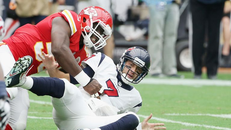 Justin Houston should prove a threat to Rodgers
