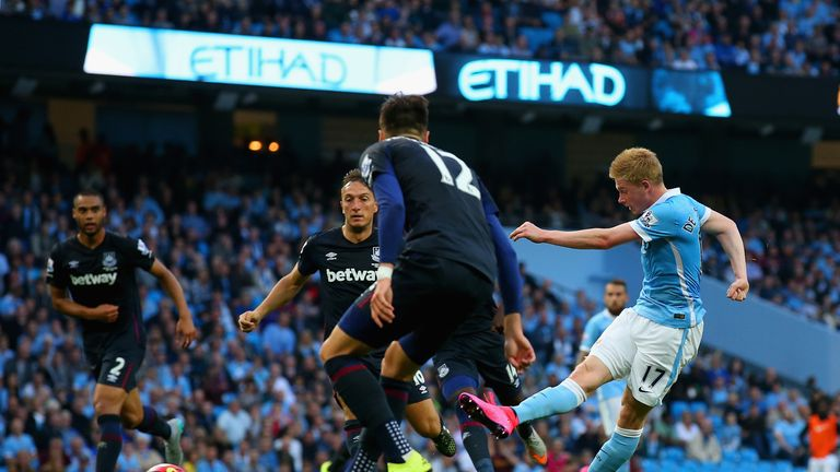 De Bruyne netted on his home debut in the 2-1 defeat to West Ham in September
