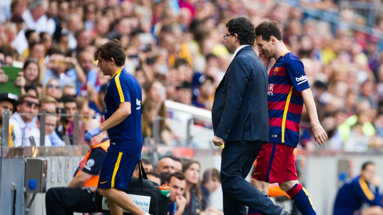 Lionel Messi is substituted after getting injured