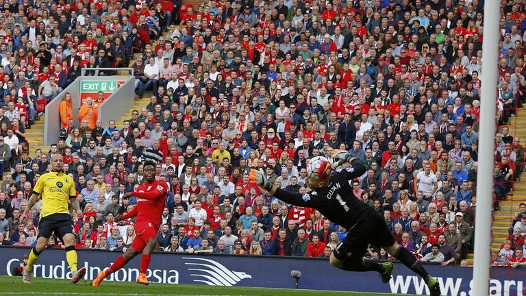 Liverpool's Daniel Sturridge scores his team's second goal, his first since returning from injury