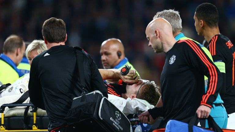 Luke Shaw is carried off injured