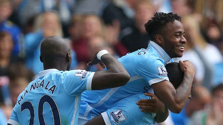 Manchester City's Raheem Sterling celebrates scoring with Manchester City's Yaya Toure during the Premier League match v Watford at the Etihad Stadium