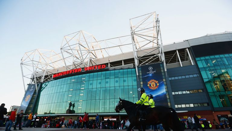 Mounted police patrol outside the stadium prior to during the UEFA Champions League Group B match between Manchester United FC and VfL Wolfsburg at Old