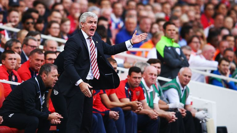 Mark Hughes gestures during the Barclays Premier League match between Arsenal and Stoke City
