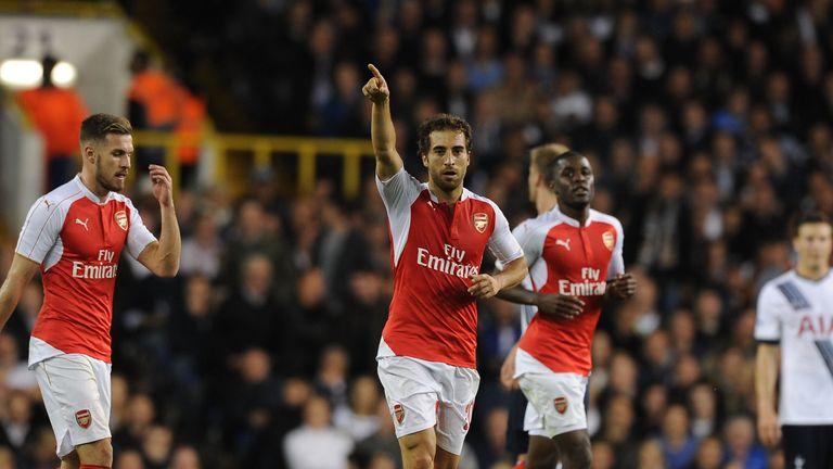 Mathieu Flamini celebrates scoring for Arsenal