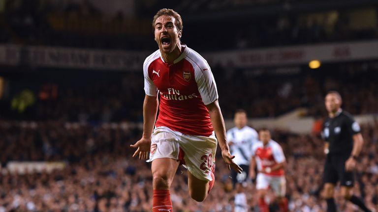 Arsenal's Mathieu Flamini celebrates