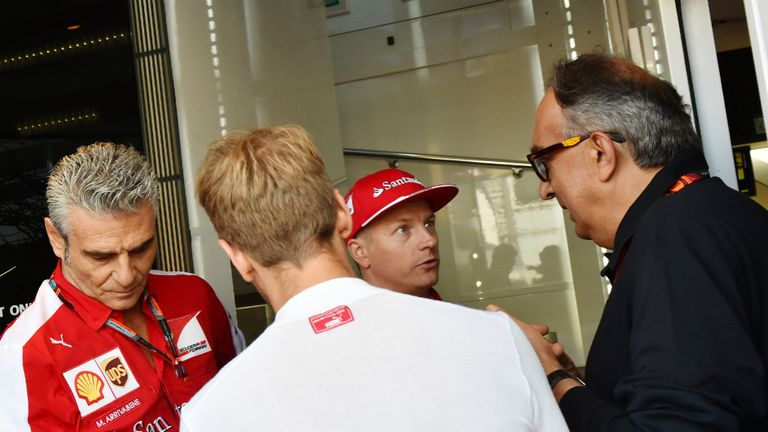 Sergio Marchionne (right) has credited Maurizio Arrivabene (left) with reviving Ferrari's F1 fortunes