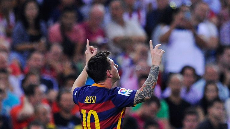 MADRID, SPAIN - SEPTEMBER 12:  Lionel Messi of FC Barcelona celebrates after scoring his team's 2nd goal goal during the La Liga match between Club Atletic