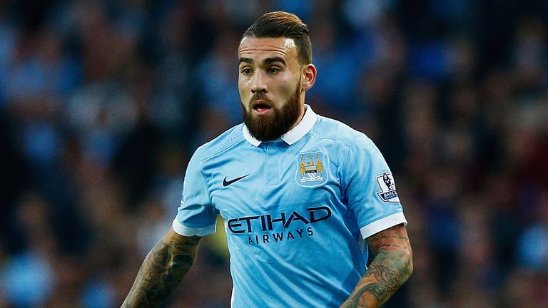 Nicolas Otamendi of Manchester City in action during the Barclays Premier League match between Manchester City and West Ham