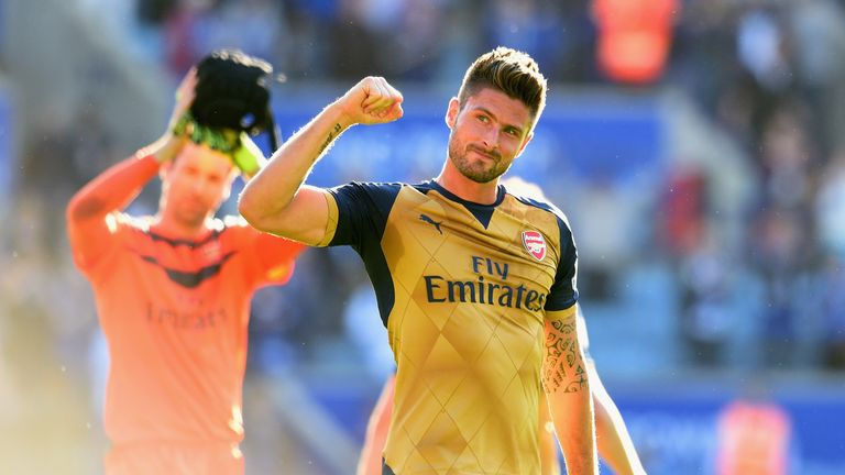 LEICESTER, ENGLAND - SEPTEMBER 26: Olivier Giroud of Arsenal celebrates his team's 5-2 win in the Barclays Premier League match between Leicester City and