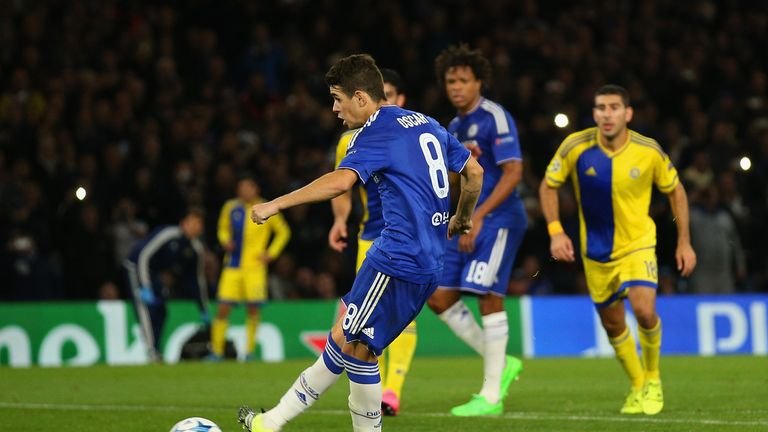 Oscar of Chelsea scores a penalty