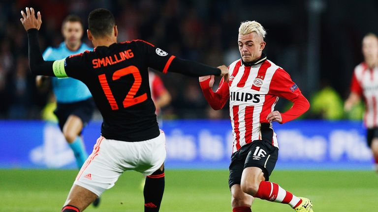 Maxime Lestienne of PSV Eindhoven takes on Chris Smalling