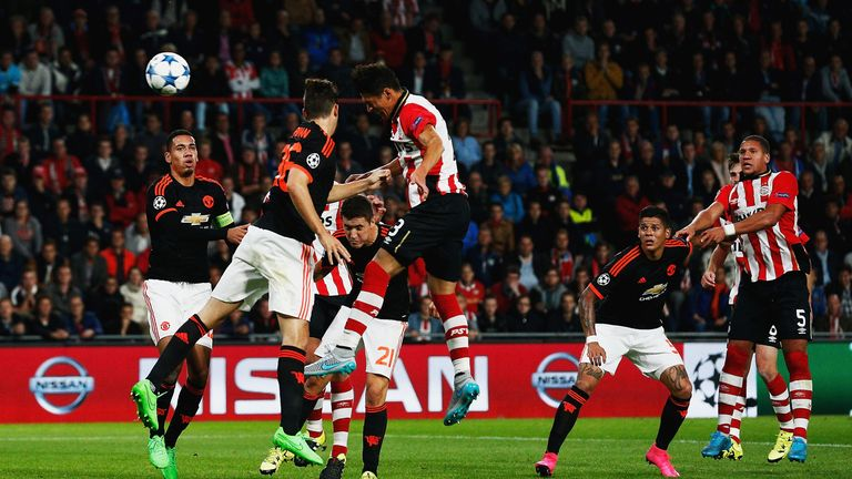 Hector Moreno of PSV Eindhoven (3) scores
