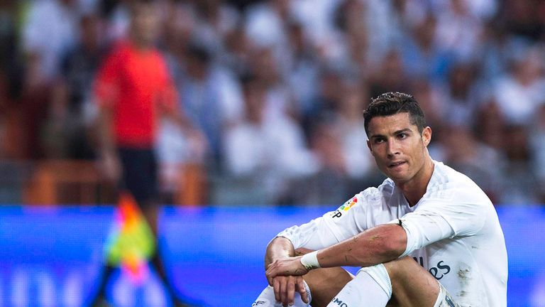 Cristiano Ronaldo reacts after a missed chance