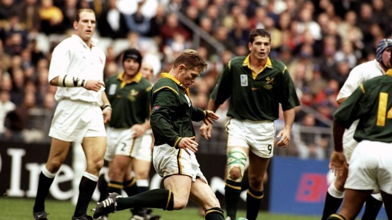 Jannie De Beer kicks his fourth drop goal in South Africa's quarter-final win over England
