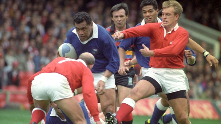 Western Samoa Captain Peter Fatialofa Drives Into Wales Richie Collins