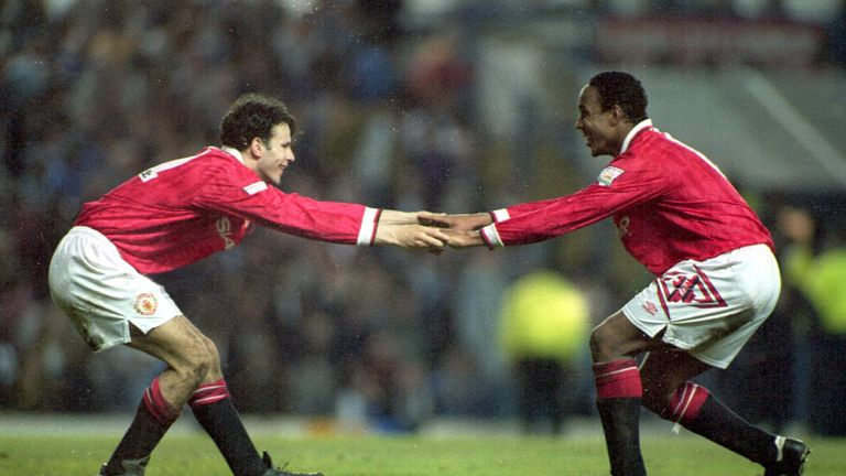 27 APR 1994:  Ryan Giggs and Paul Ince celebrate after a goal for Manchester United