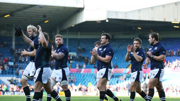 Scotland players celebrate after the match at Elland Road