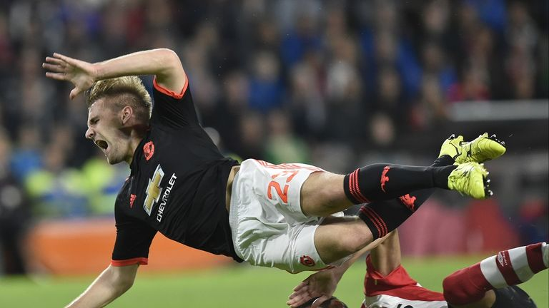 Luke Shaw suffered a double leg fracture following a tackle by Hector Moreno