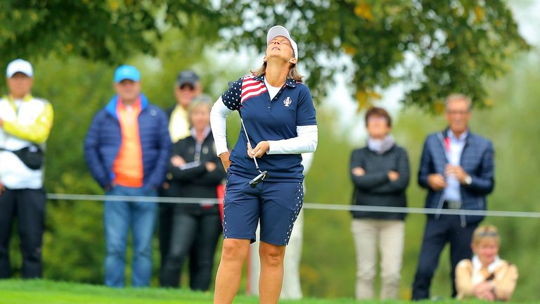 Angela Stanford looked emotional as she won the first hole of her match against Suzann Pettersen