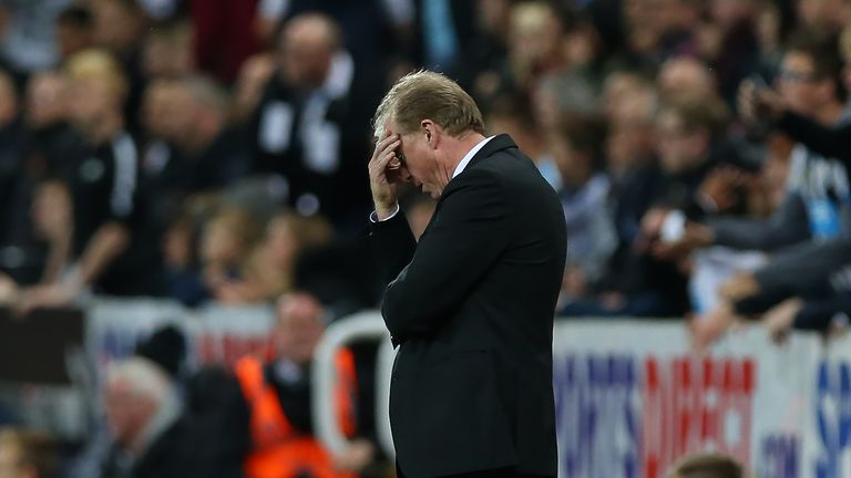 Newcastle United's manager Steve McClaren reacts against Sheffield Wednesday in midweek