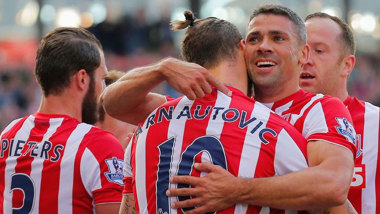Jon Walters celebrates after giving Stoke the lead