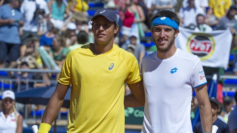 Joao Souza (left) and Leonardo Mayer (right) were involved in the longest Davis Cup singles match on record
