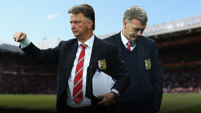 How does Louis van Gaal's Manchester United record compare to David Moyes'?