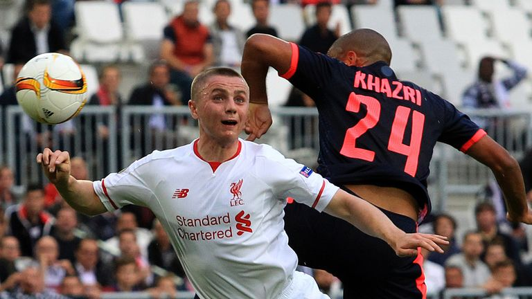 Liverpool's Jordan Rossiter (left) jumps for a header with Bordeaux's Wahbi Khazri