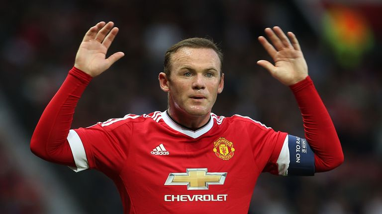 Wayne Rooney of Manchester United in action during the UEFA Champions League play-off first leg match v Club Brugge at Old Trafford