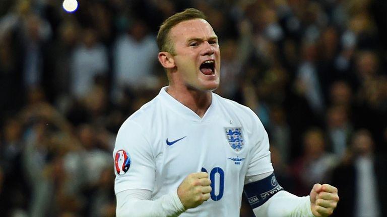Wayne Rooney celebrates scoring his 50th England goal
