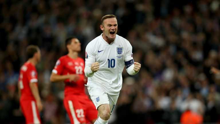 England's Wayne Rooney celebrates scoring his side's second goal of the game and his 50th international goal v Switzerland, European Qualifiers