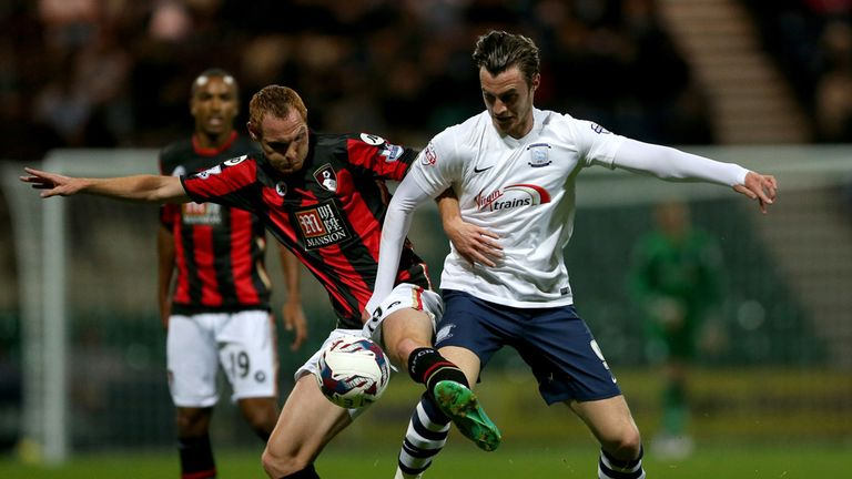 Preston North End's Will Keane (right) and AFC Bournemouth's Shaun MacDonald battle for the ball