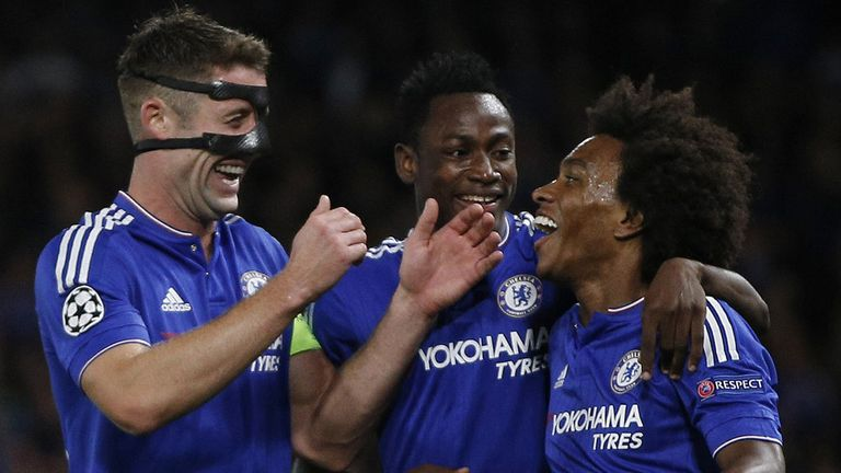 Gary Cahill congratulates Willian