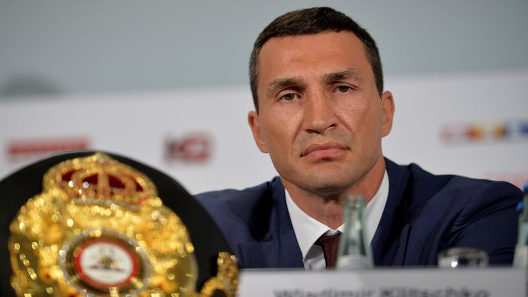 DUESSELDORF, GERMANY - JULY 21:  Wladimir Klitschko looks on during a press conference for his fight against Tyson Fury