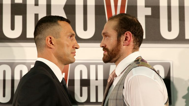 Klitschko (left) and Fury refrained from physical contact during the head-to-head photoshoot