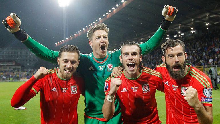 Gareth Bale and his Wales team-mates celebrate