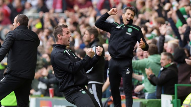 Celtic manager Ronny Deila celebrates as his side takes the lead