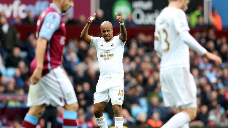 Andre Ayew celeb, Aston Villa v Swansea City, Premier League