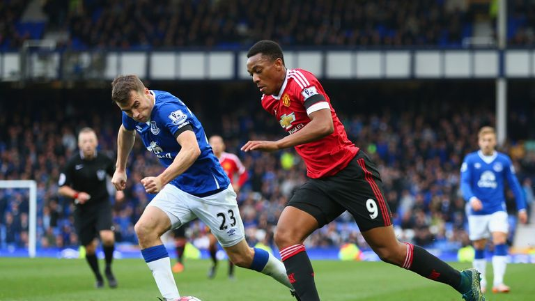 Anthony Martial played on the left wing for Manchester United against Everton on Saturday